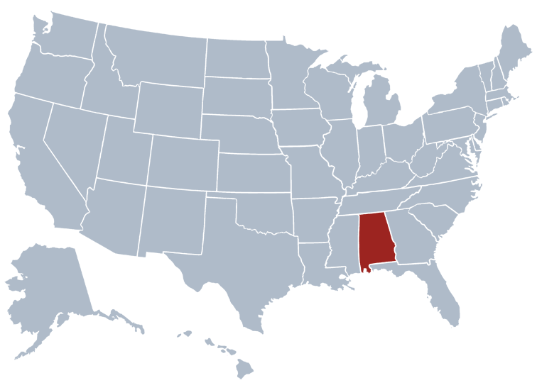 Alabama United States Map.Alabama State Information Symbols Capital Constitution Flags