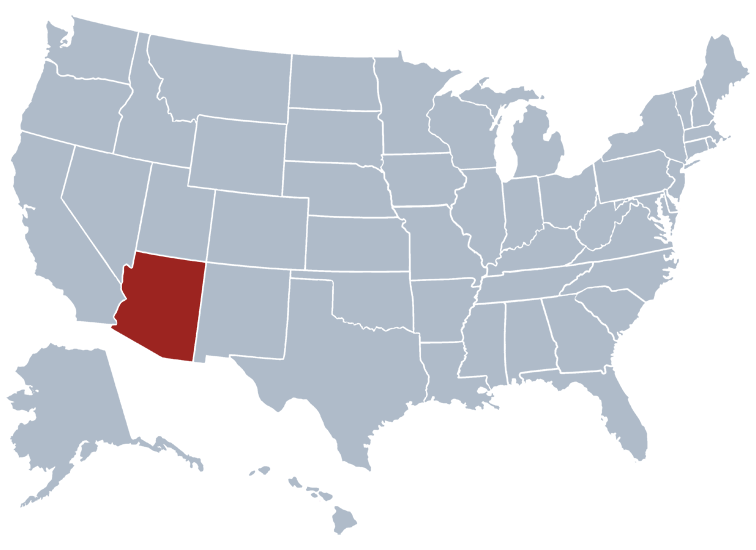 A Map Of Arizona State.Arizona State Information Symbols Capital Constitution Flags