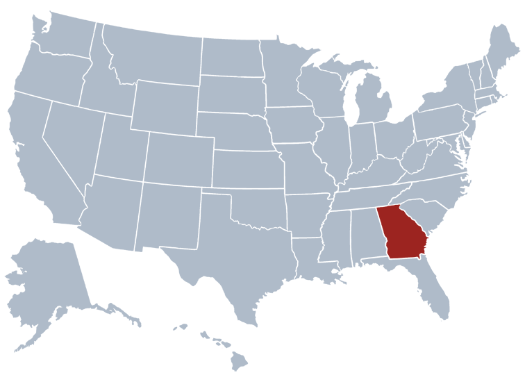 Map Of The State Of Georgia.Georgia State Information Symbols Capital Constitution Flags