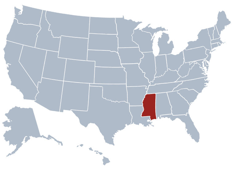 Mississippi On Us Map Mississippi State Information   Symbols, Capital, Constitution