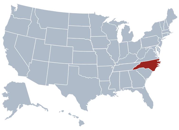 north carolina state map location
