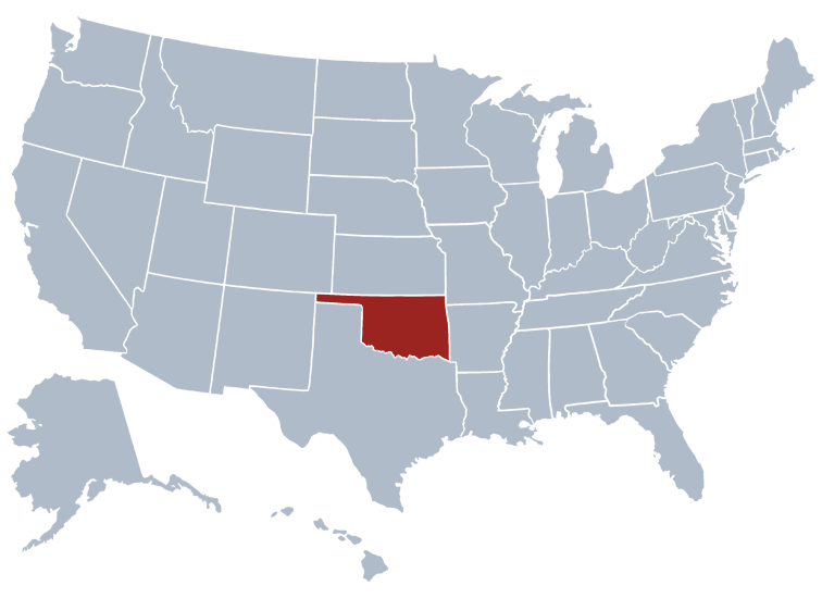 State Map Of Kansas And Oklahoma.Oklahoma State Information Symbols Capital Constitution Flags
