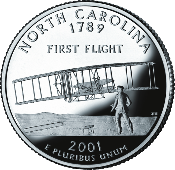 U.S. 25-cent piece commemorating North Carolina, in the series honoring all 50 states. The design follows John T. Daniels's iconic photo of the first well-documented heavier-than-air flying machine flight, by the Wright Brothers, at Kittyhawk, North Carolina, in 1903.