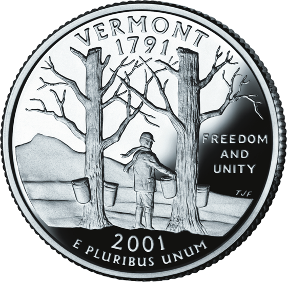 West Virginia Colleges >> Vermont State Quarter - 50States.com