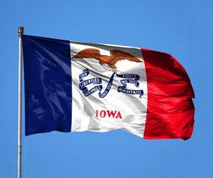 Iowa state flag flying
