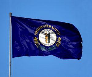 Kentucky state flag flying