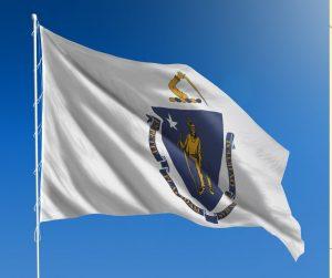 Massachusetts state flag flying