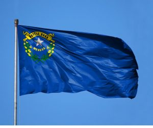 Nevada state flag flying