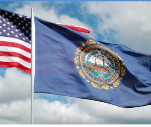 New Hampshire state flag flying in the wind