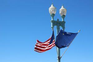 Alaska flag and American flag