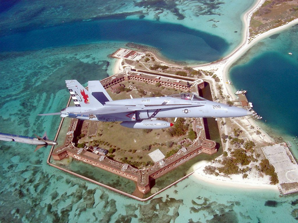 Military plane above Fort Jefferson at Dry Tortugas National Park