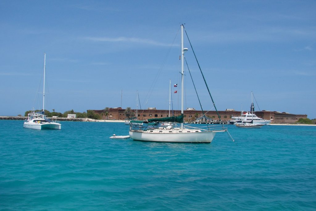 Sailboats in front of Fort Jefferson