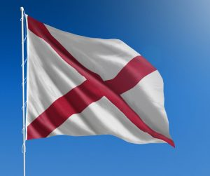Alabama Flag Flying In The Wind