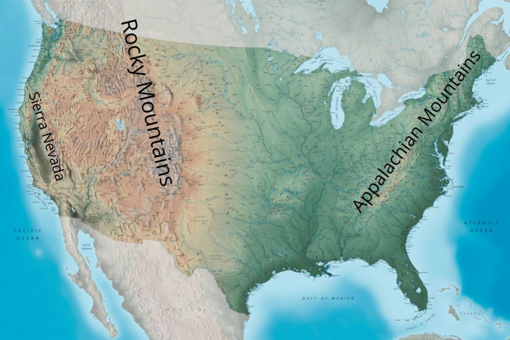 Map of 3 largest US mountain ranges